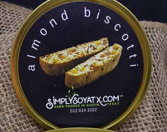 Almond Biscotti: 12oz.  ORGANIC SOY Candle.  Handmade in Austin, Texas, USA!