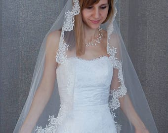 Spanish Mantilla Veil For Cathedral Chapel Length Wedding Lace
