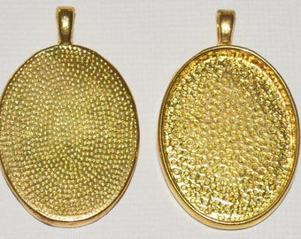 2 x Oval Gold Plated pendant trays - Blank cabochon setting