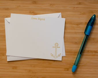 Anchor personalized gold foil press stationery set of 10 with envelopes