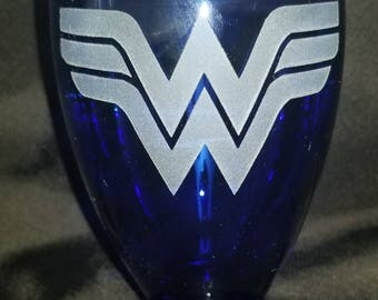 Wonder Woman cobalt blue juice glasses, set of 4. Fun gift