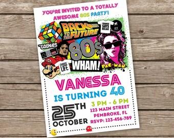 80er Jahre Party Einladung, 80er Jahre Party Einlädt, Retro Einladung,  Einladung Zur Geburtstagsfeier