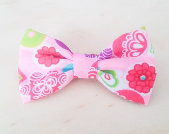 Girls Pink Fabric Hair Bow Clips