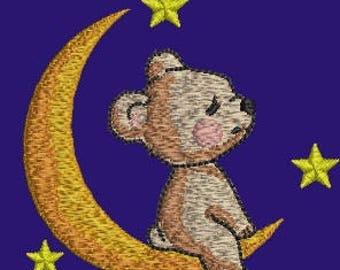 Cute teddy bear sitting on the moon Embroidery Machine Embroidery Design, Instant Download