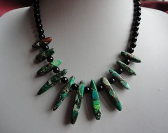Sterling Silver Green Picture Jasper Dagger And Black Onyx Necklace - N44