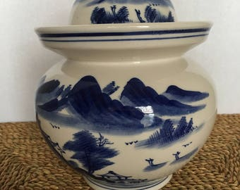 Blue and White Landscape Chinese Jar or tea Caddy with Lid and Cup