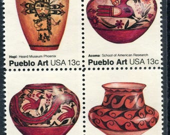 Pueblo Pottery Stamps/4 Unused Stamps / Pueblo Art Stamps
