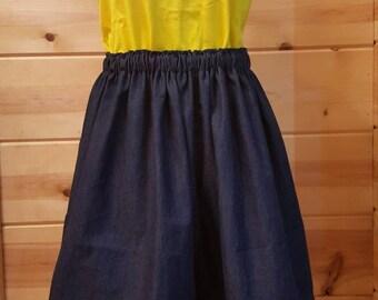 Elastic Waist, Denim Skirt