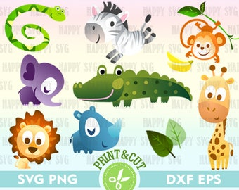Cartoon Baby Animal SVG, Baby Giraffe Digital, Baby Crocodile Clipart, Lion Cub Decal, Baby Rhino Digital Zebra Calf Digital Baby Monkey Svg