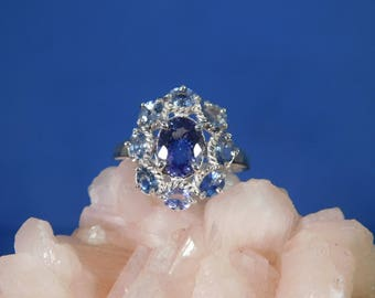 1.58 Ct. Oval Purple Tanzanite and Sapphire Cluster Ring Sterling Silver