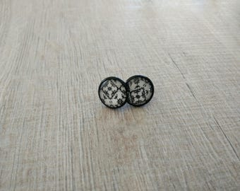 black and white lily pattern earrings