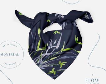 Autumn Scarf, fall scarf, botanical art, head wrap, head scarf, printed scarf, chiffon scarf, satin scarf, scarf for women, navy scarf,
