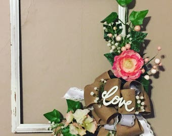 Love frame with floral and burlap
