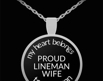 Proud Lineman Wife Round Pendant Necklace My Heart Belongs to a Lineman Gift