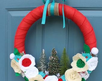 Vintage Inspired Bottle Brush Christmas Wreath