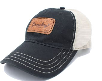15% OFF! Trucker Hat, Baseball Cap, Leather Branded Hat, Baseball Hat, Trucker Cap, Handmade in Alabama, Growley Leather Hat, SALE TODAY!
