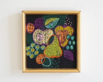 Mid Century Modern Embroidery of Fruits 1960s Multicolor Wall Decor Swedish Hand Embroidered Framed Wall Hanging Scandinavian Retro Textiles