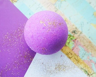 Luxury bath bomb, bath fizzy, bath ball, purple bomb, glitter bath bomb, moisturising bath bomb