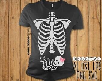 Xray Maternity SVG  - Baby Skeleton Maternity Shirt - Baby Skeleton Halloween Maternity Shirt - Vector Files - Cut File - SVG