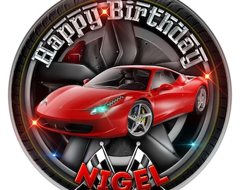 Red Ferrari Sport Car Personalised Edible Icing. Birthday Cake Topper Decoration 7.5""