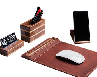 office collections package L&S 2,  Wood scotch tape dispenser, Wood pen holder, Business card stand,