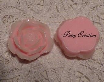 2 RESIN FLOWER ROSE CABOCHONS