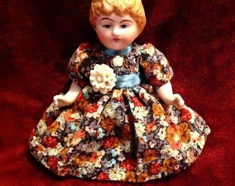"""Antique German Molded Hair Parian Bisque Doll ~ 4"""" ~ Mignonette"""