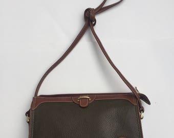 Vintage, 1980s, 80s, Women's, Liz Claiborne,  Crossbody, Shoulder Strap, Bag,Purse, Green, Retro, Lizwear, Genuine Leather
