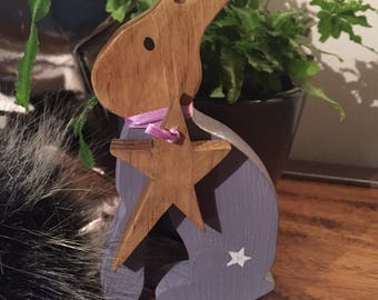 Wooden standing Rabbit / Hare with hanging star
