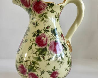 Pink Rose Chintz 78 Ounce Water/Tea Pitcher with Gold Trim