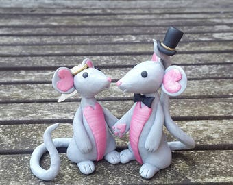 Mouse wedding couple cake topper, silvery grey and shimmer pink polymer clay.