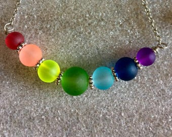 Chakra Sea Glass Necklace  With 7 colors