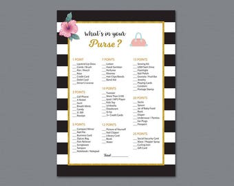 Kate Spade Whats in your Purse Game Printable, Gold Bridal Shower, Bachelorette Party, Wedding Shower Games, Purse Raid, Purse Hunt, A014