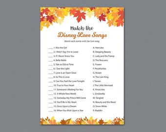 Fall Match the Disney Love Songs Game, Autumn Bridal Shower Games Printable, Fall Leaves, Leaf, Wedding Shower, Love Songs Match Game, A021