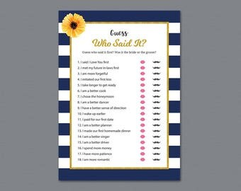 Kate Spade He Said She Said Bridal Shower Games, Guess Who Said It Phrase Game, Gold Navy Blue Stripes, Wedding Shower Party Games, A027