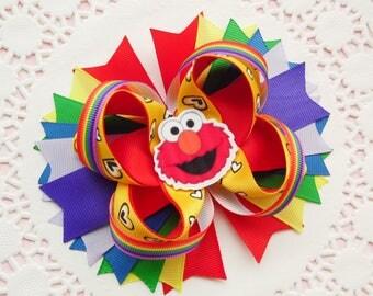 Elmo bow Elmo birthday bow Elmo party favor Sesame street bow Baby girl Elmo bow Cookie monster bow Girls hair bows Elmo birthday party