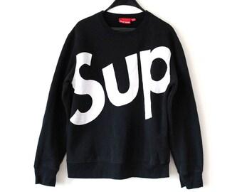 Vintage Supreme Sweatshirt Black Supreme Jumper 90's Supreme Sportswear Hip Hop Streetwear Made in Canada Big Logo  Supreme Sport Sweater