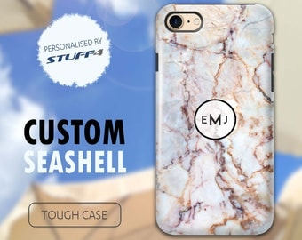 Personalised Custom Marble Phone Case for Apple iPhone 4/5/6/7 Plus SE Smartphone/Seashell Emblem/Personalized Tough Cover Name/Initial