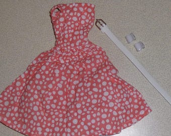 OOAK dress and belt for Fashion royalty, Barbie, Silkstone - peach & white - new