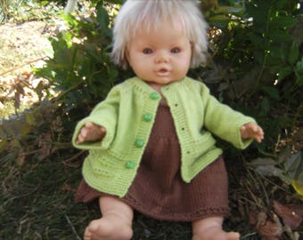 ALL BABY DRESS AND JACKET SPRING GREEN AND BROWN HAND KNITTED