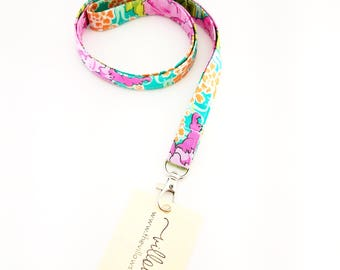 Pink and green floral lanyard, lanyard, badge holder, school ID holder, key ring, key chain, key fob, teacher gifts, teacher lanyard