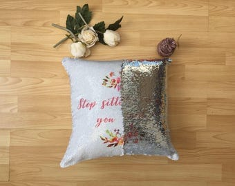 Mermaid Cushion, Reversible Mermaid Sequin Cushion Cover, Personalised Sequin Cushion, Mermaid Pillow, Mermaid Custom Cushion