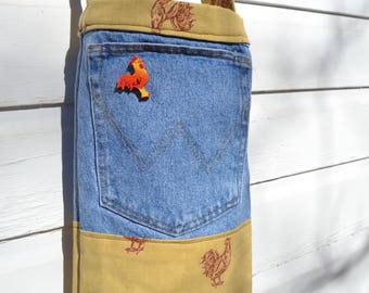 Reclaimed Denim Tote/Bag/Purse - Red Chickens on Gold, wooden button accent long strap