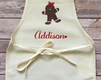 Girl's Christmas Apron,  Kid's Christmas Apron, Personalized Baking Apron, Toddler Apron, Kids Dress Up, Girl Apron, Gingerbread Apron, Bake