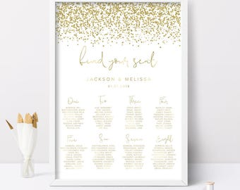 Printable Wedding Seating Chart, Glitter Wedding Seating Chart, Wedding Reception Seating Chart, Seating Chart Wedding, Printable Wedding
