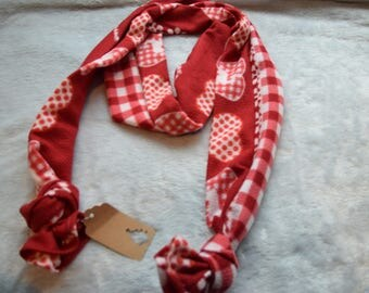 Extra Long Red and White Fleece Cotton Straight Scarf Christmas Gift Women and Teens Hearts and Checkers