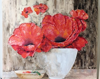 Large Flowers Oil Painting / Red Flowers Painting Canvas / Red Poppies Painting / Original Oil Painting on Canvas