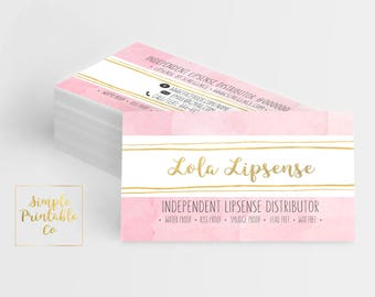 Lipsense Business Cards Pink/Gold *YOU PRINT*
