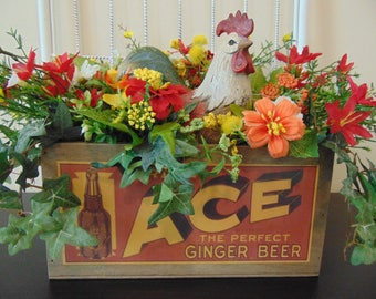 Rooster In Vintage Box Farmhouse Floral