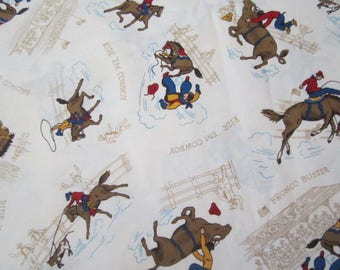 Robert Kaufman Fabric Cowboy Fabric  Creme Colored Background Vintage Images of Cowboys on Horses BY THE YARD Great for a little boys room!!